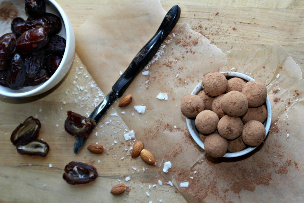 dark chocolate almond bites