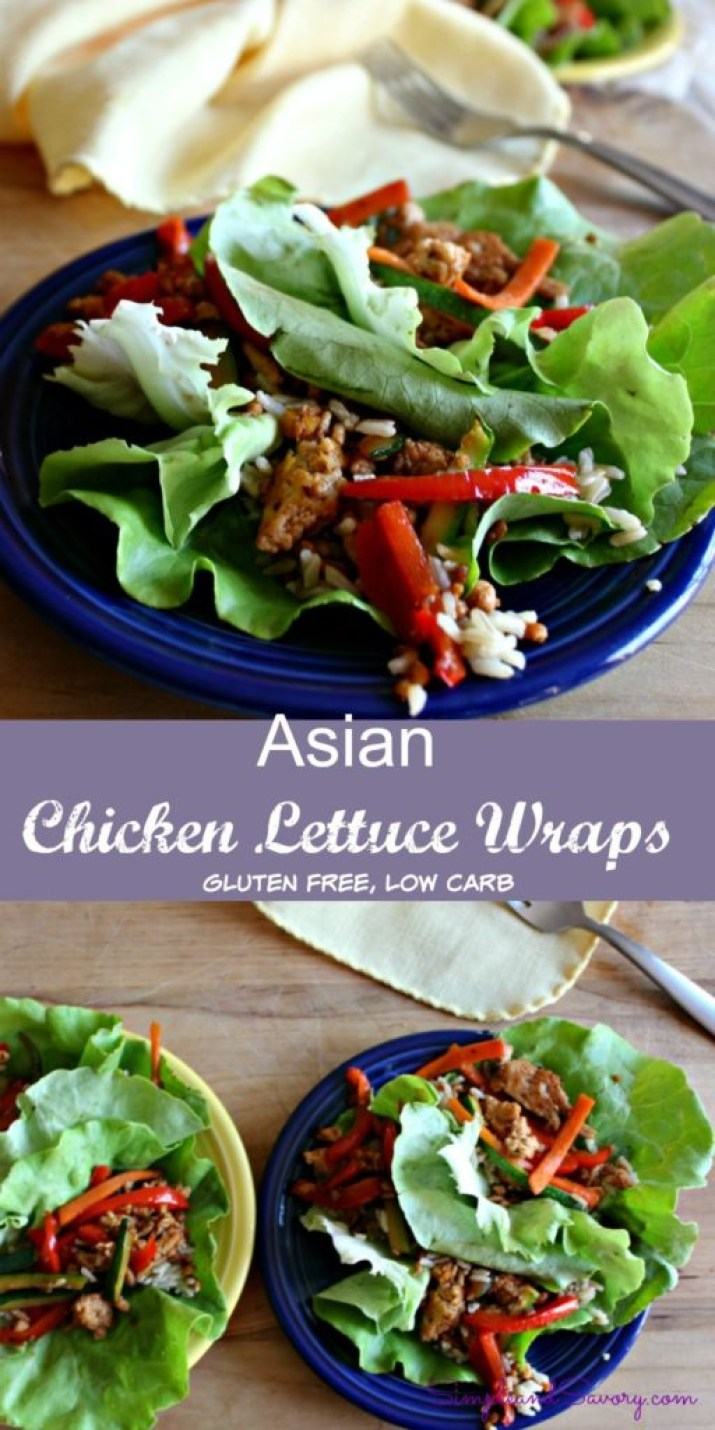 Asian Chicken Lettuce Wraps Gluten Free and low carb simpleandsavory.com