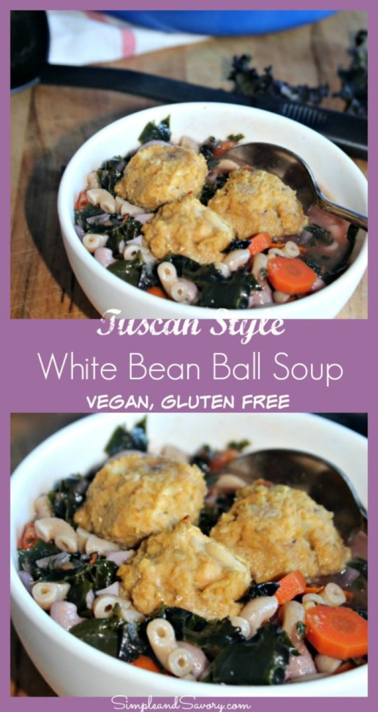 Tuscan Style White Bean Ball Soup made with kale, white beans and vegetables gluten free vegan