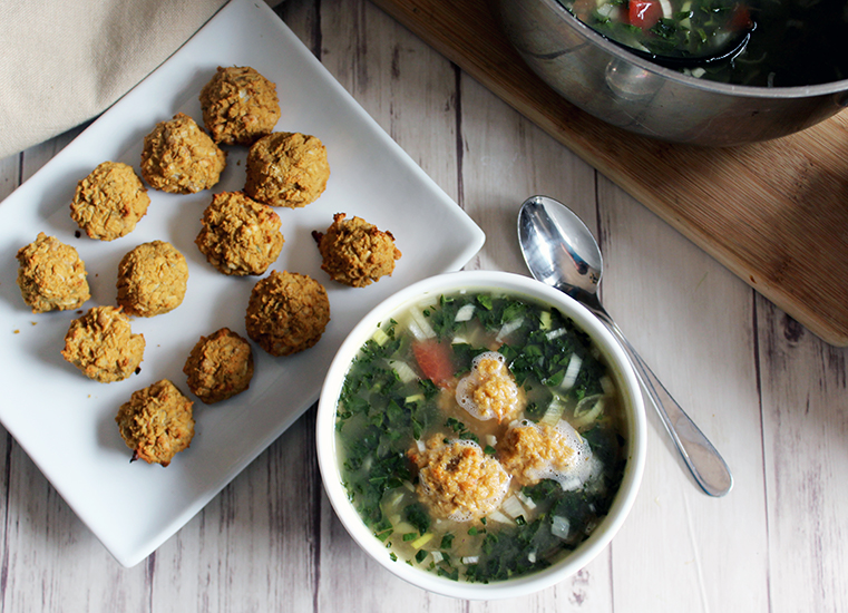 Tuscan vegetable soup with white bean balls vegan soup