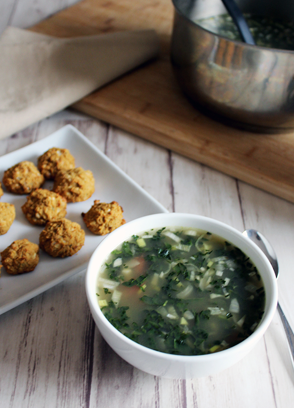Tuscan vegetable soup with white bean balls