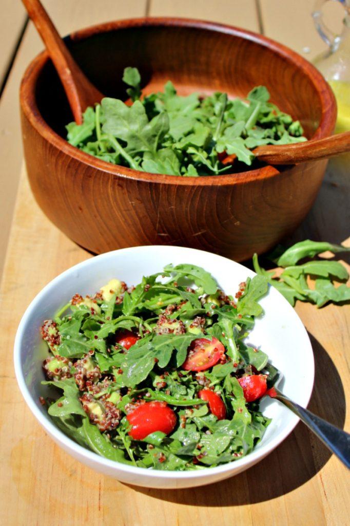 Arugula and quinoa salad feature simple and savory