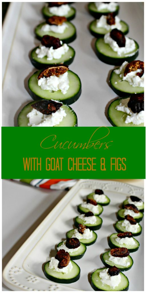Cucumbers with goat cheese and figs healthy appetizer Simple and savory.com