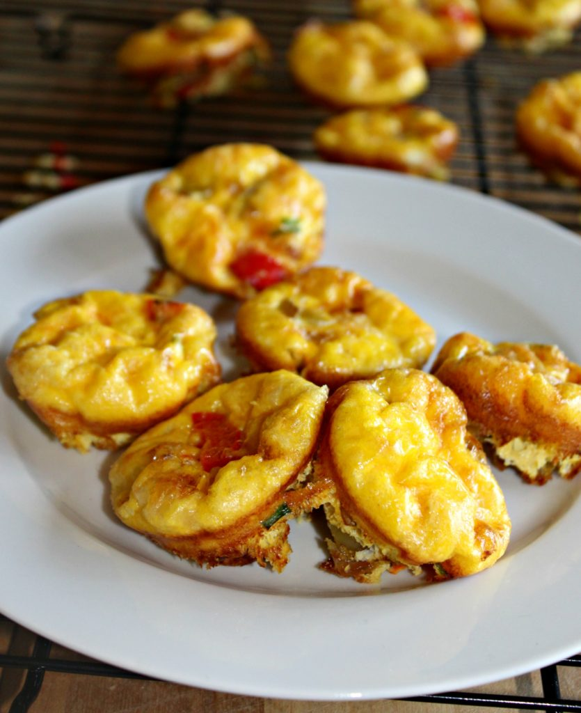 Mini Veggie Frittatas made with red peppers and healthy veggies