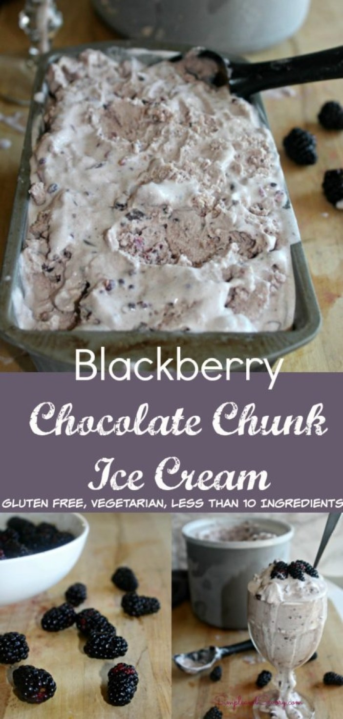 Homemade Blackberry chocolate chunk ice cream gluten free vegetarian simpleandsavory.com