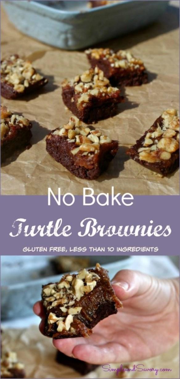 No Bake Turtle Brownies Gluten Free, less than 10 ingredients, Naturally Sweet Simpleandsavory.com