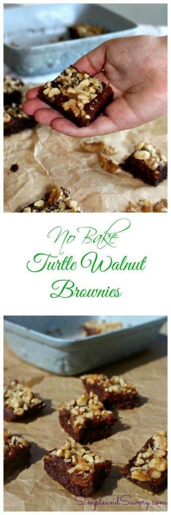 No Bake turtle walnut brownies