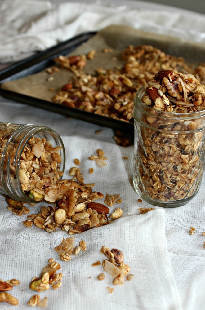 Savory Granola made with nuts oats coconut and spices Simple and Savory.com