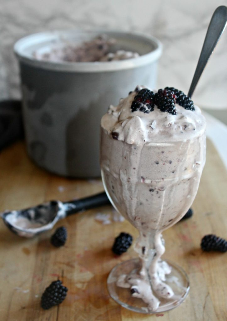 blackberry chocolate chunk ice cream Simple and Savory.com