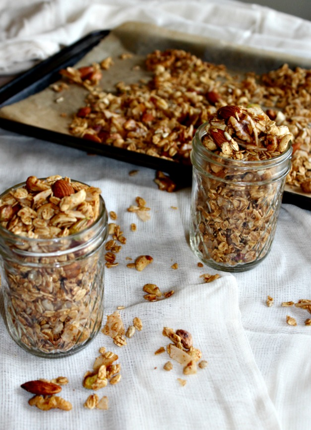 savory granola made with nuts coconut sweet and savory simpleandsavory.com