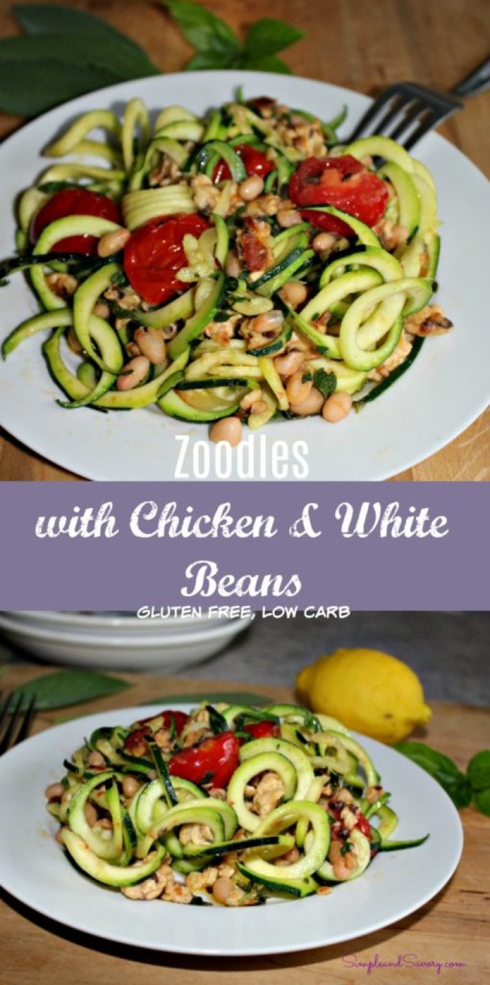 zoodles with chicken and white beans gluten free low carb easy