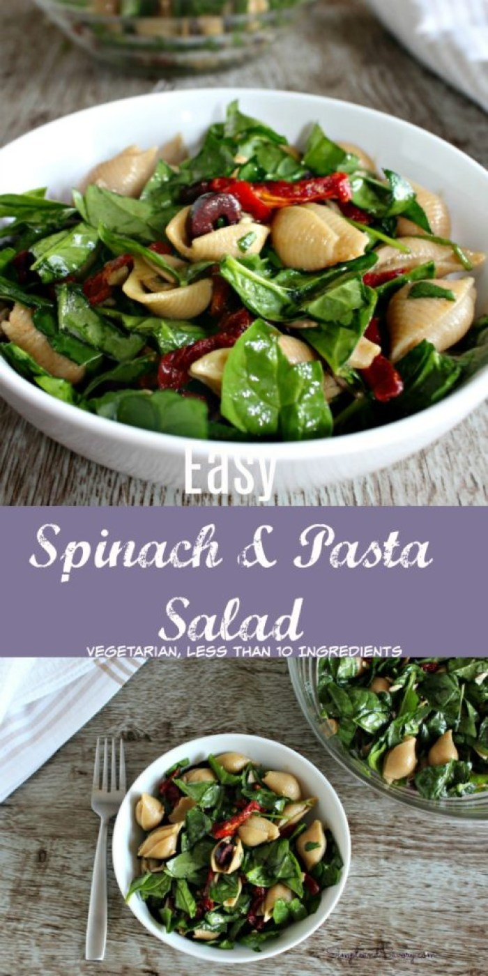 Pasta salad with spinach and sun dried tomatoes vegetarian less than 10 ingredients