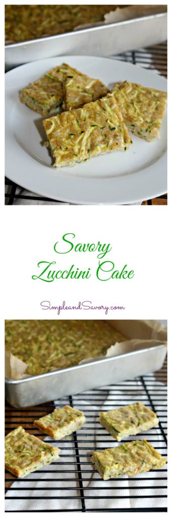 Savory Zucchini Cake Made with Zucchini, whole wheat flour, eggs and parmesan cheese SimpleandSavory.com