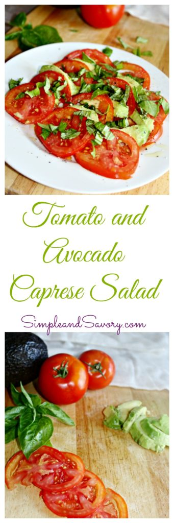 Tomato and avocado caprese salad, gluten free, dairy free, vegan