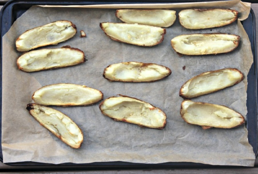 baked and naked potato skins
