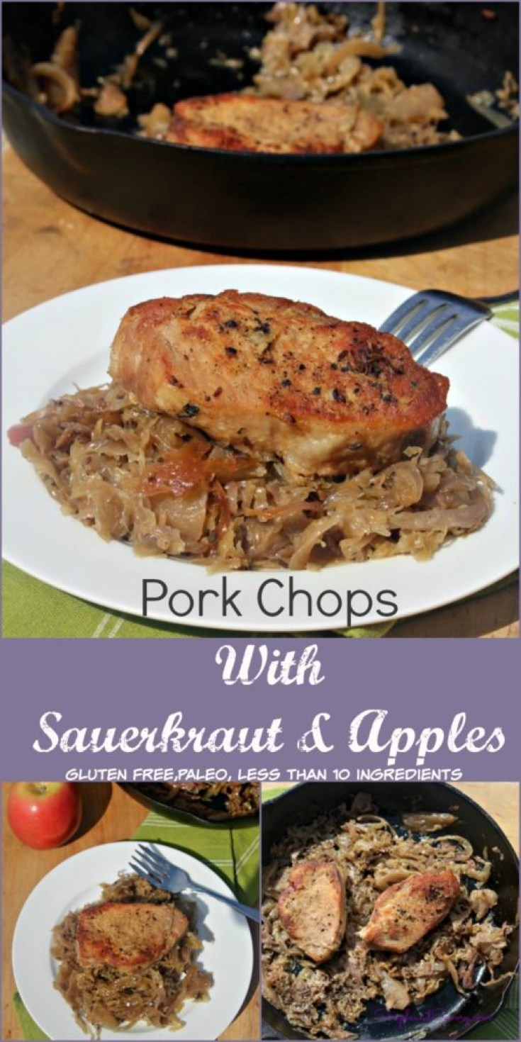Pork Chops with Sauerkraut and apples gluten free, paleo, less than 10 ingredients simpleandsavory.com