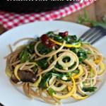 portobello mushrooms and linguine