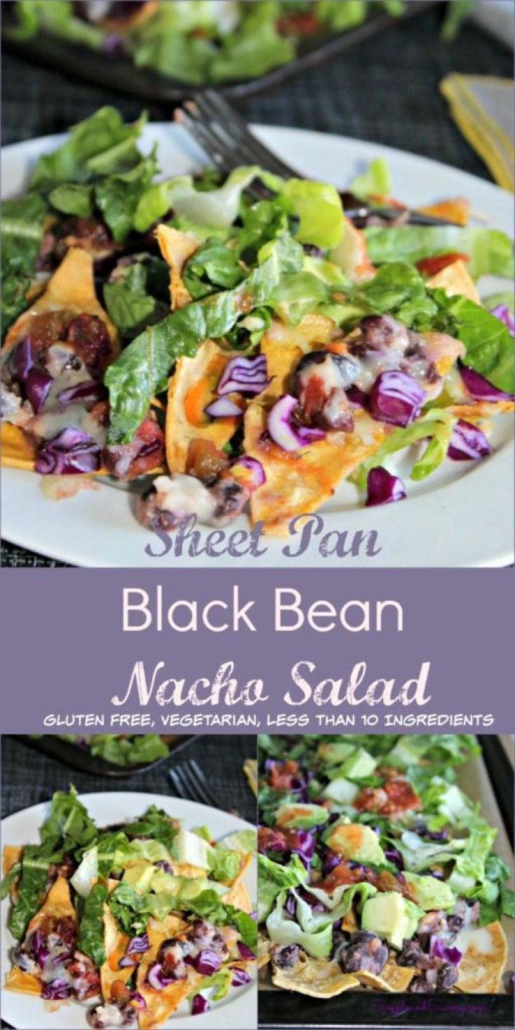 Sheet Pan black bean nachos vegetarian, gluten free simpleandsavory.com
