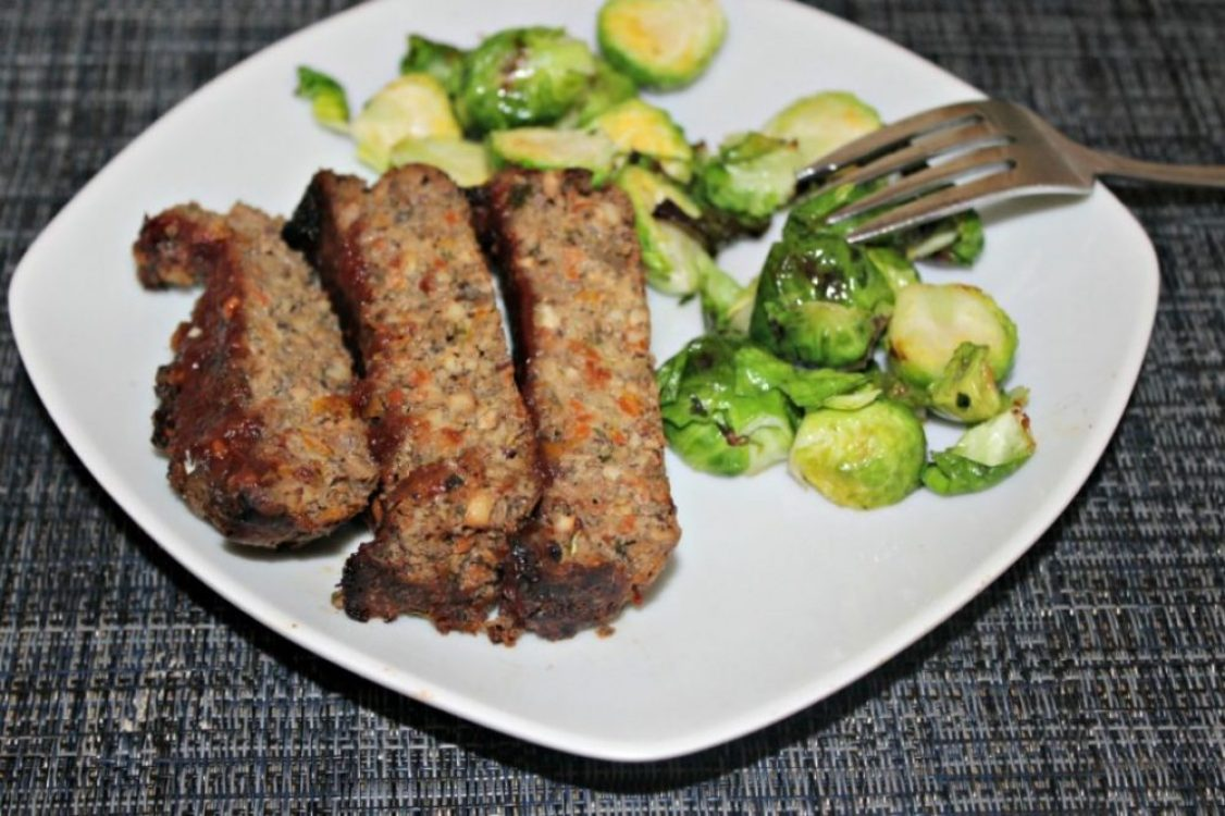 Veggie meatloaf made with walnuts