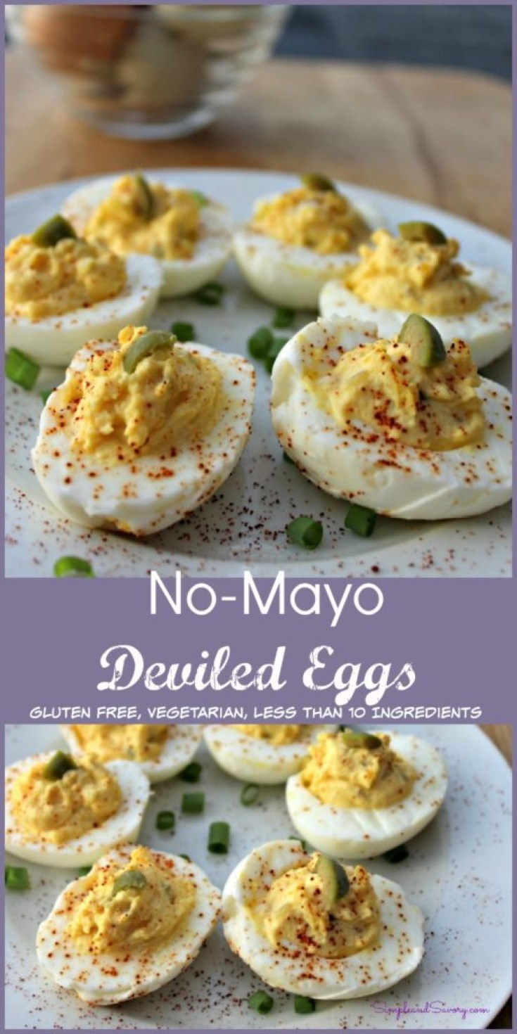 Easy No Mayo Deviled Eggs gluten free, vegetarian simpleandsaory.com
