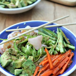 sushi bowls with shrimp gluten free healthy dinner from Simpleandsavory.com