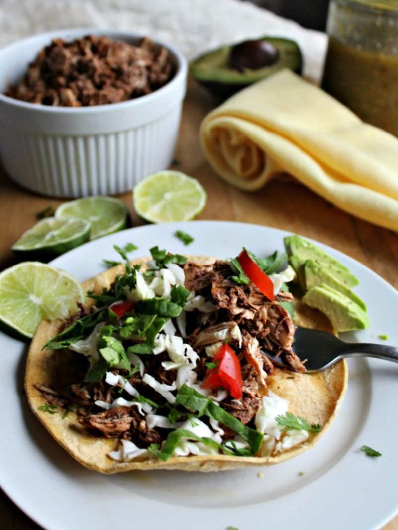 Slow cooked chicken tostadas