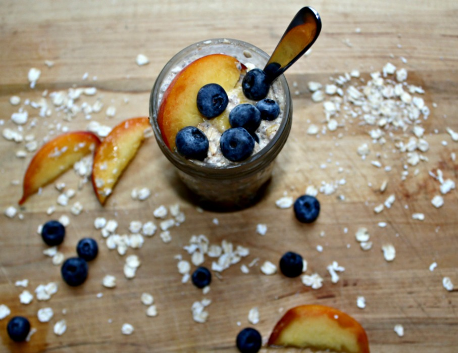 Peach and blueberry overnight oats gluten free dairy free vegan
