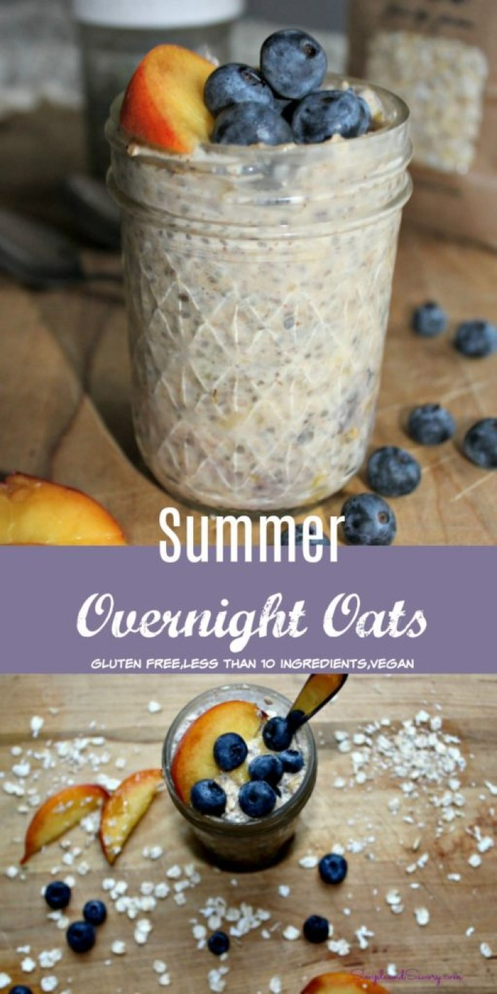 Summer Overnight Oats gluten free, dairy free, vegan, simpleandsavory.com
