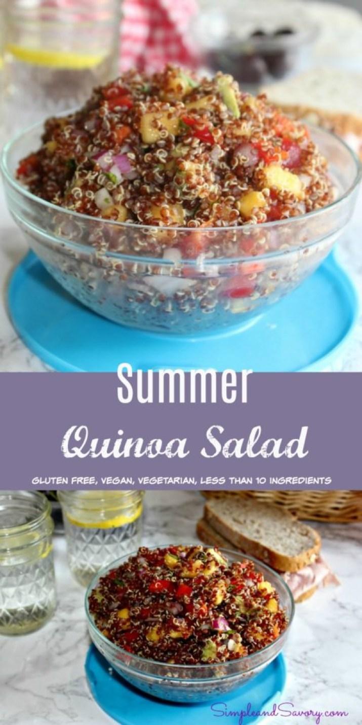 Summer quinoa salad simpleandsavory.com gluten free vegan vegetarian
