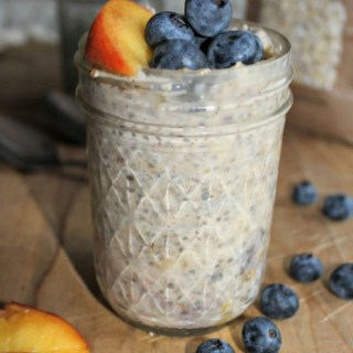 each and blueberry overnight oats dairy free gluten free vegan