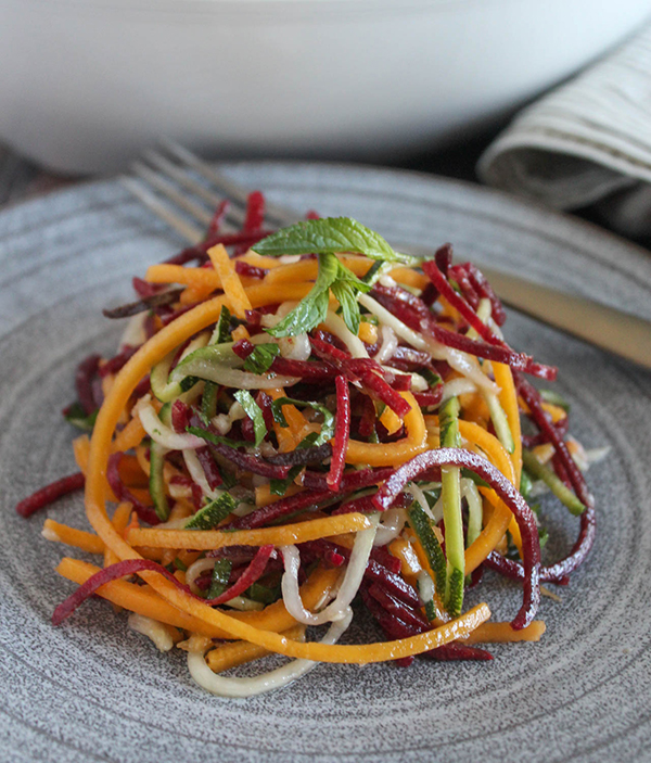 Simple and Fresh Veggie Noodle Salad - Made with Spiralzied Vegetables