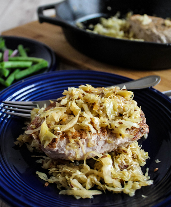 Pork Chops with Sauerkraut and Apples - Simple And Savory