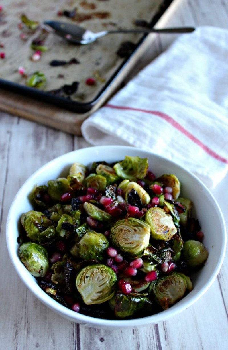 Roasted Brussels Sprouts with Pomegranate simpleandsavory.com