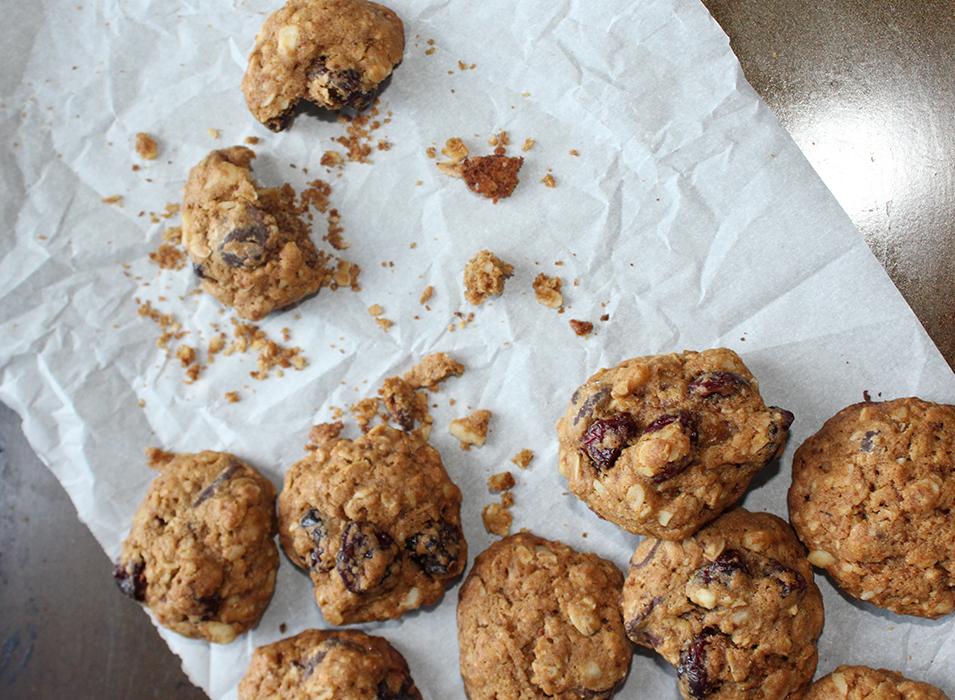 Oatmeal chocolate chip cookies with macadamia