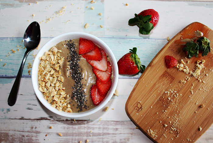 Peanut butter and jelly smoothie bowl H
