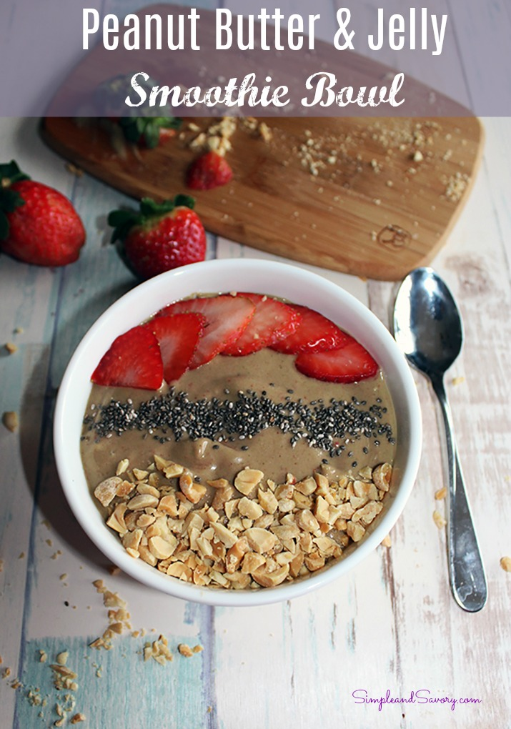 Peanut butter and jelly smoothie bowl main simpleandsavory.com plant based vegan gluten free