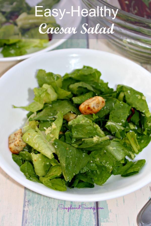 Super Easy Ceasar Salad in a Bowl