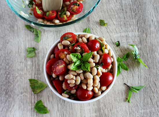tomato and white bean salad with basil simple and savory