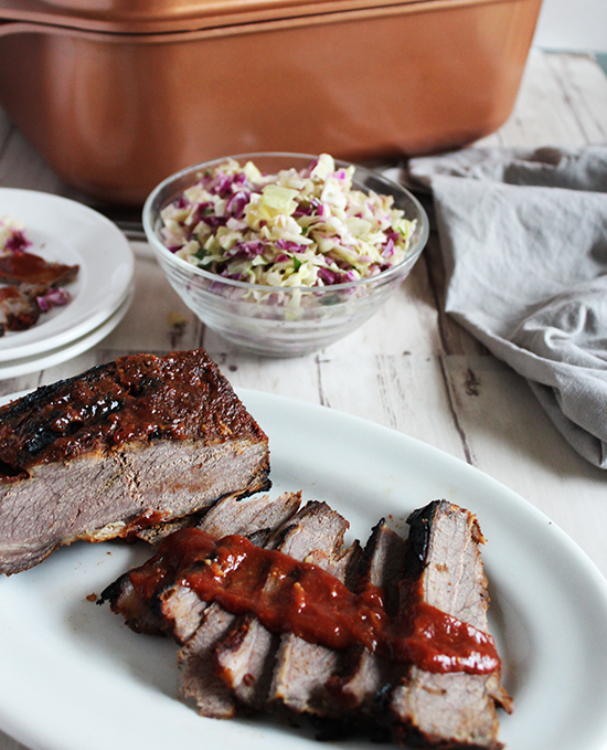 barbecue beef brisket with homemade barbecue sauce