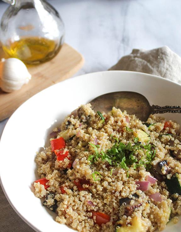 Veggie quinoa salad in a bowl