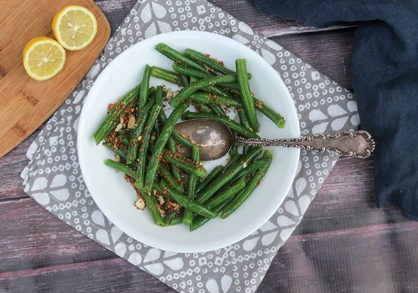 an overhead shot of Green Beans with almonds