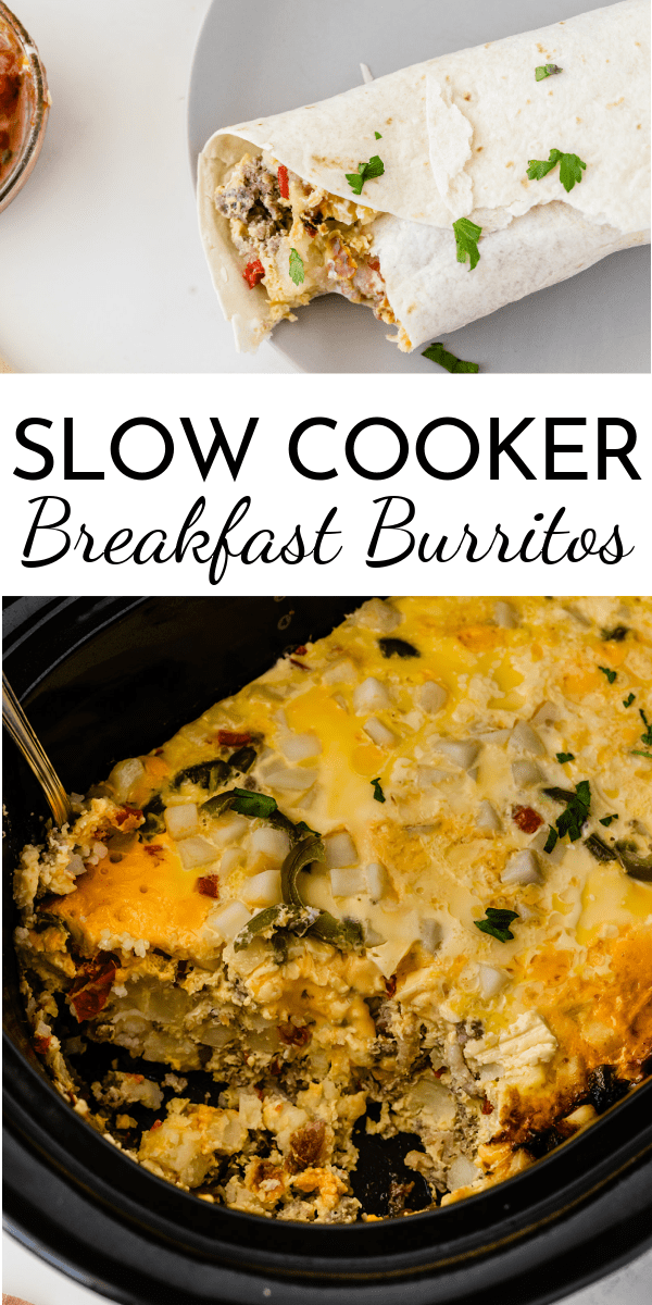 Put a few ingredients in the crock and wake up to hot and ready Slow Cooker Breakfast Burritos! Or cook on high and have breakfast for dinner. via @nmburk