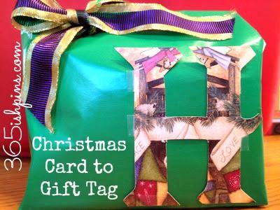 christmas card to gift tag