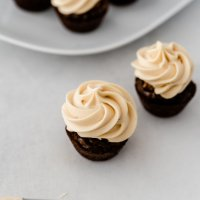 two brownie bites with icing on top