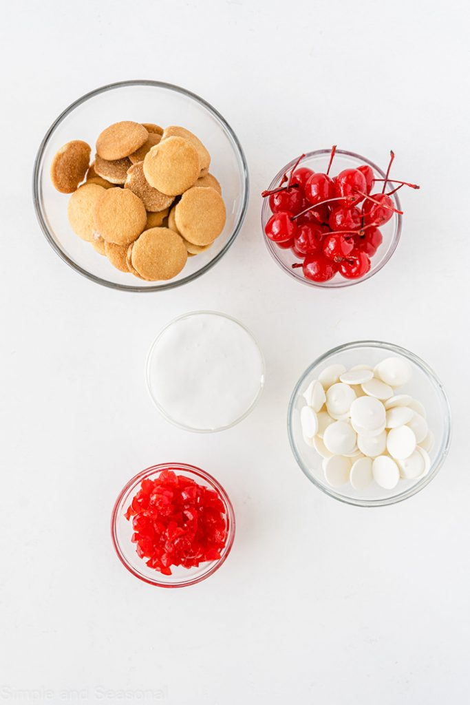 4 ingredients for cherry marshmallow cookies