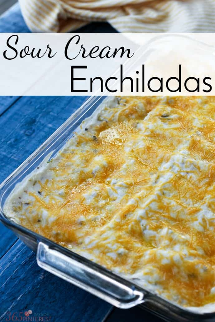 Creamy and delicious, these sour cream enchiladas are a family favorite. The flavors are mild and kid-friendly and they make great leftovers! via @nmburk
