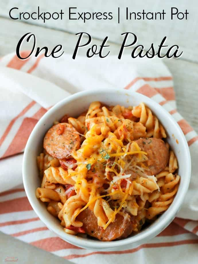 One of our family's favorite recipes, One Pot Pasta is both easy and delicious. Make it either on the stove top or in the pressure cooker for a meal ready in less than 30 minutes! #CrockpotExpress #InstantPot #PressureCookerRecipe #Pasta #EasyRecipe via @nmburk