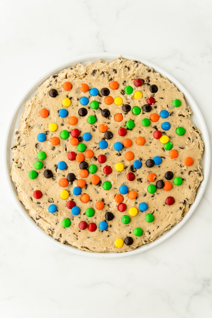 cookie dough topped with chocolate candies