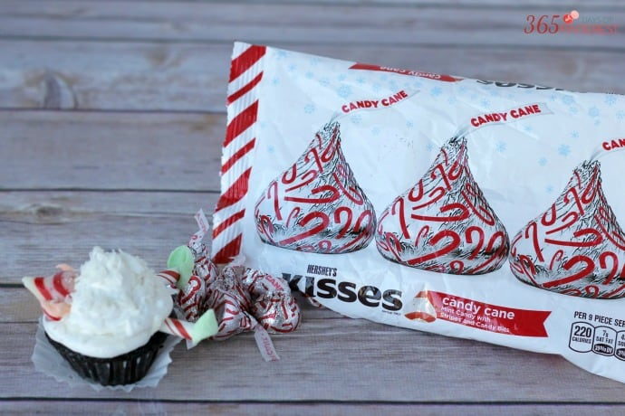 Candy Cane Kisses for Christmas elf cupcakes