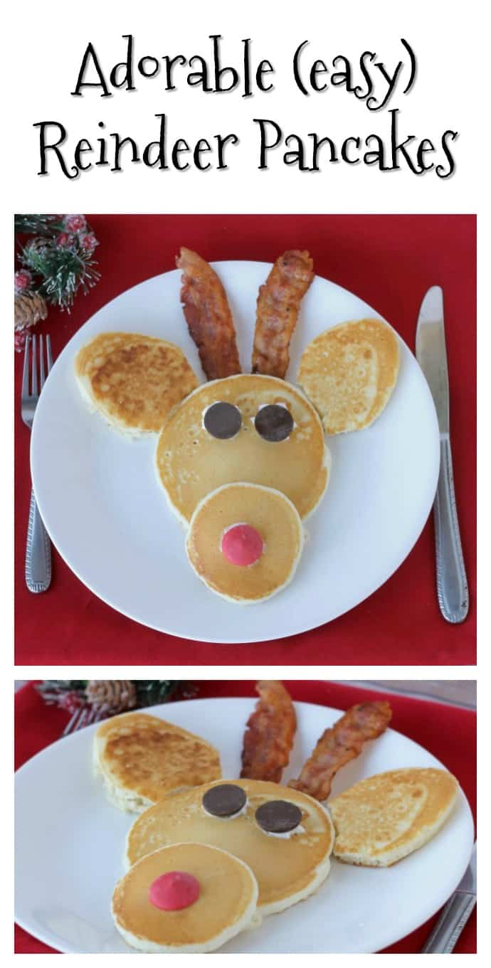 Make these cute Reindeer Pancakes for Christmas breakfast this year! No need to head to a restaurant-they are easy to make at home! #Christmas #EasyRecipe #Reindeer #ChristmasBreakfast #Pancakes via @nmburk